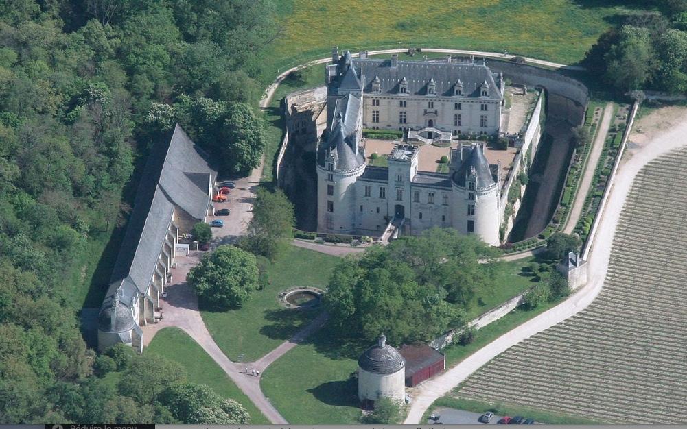 Le château de Brézé dans sa partie supérieure ainsi que son orangerie et son colombier