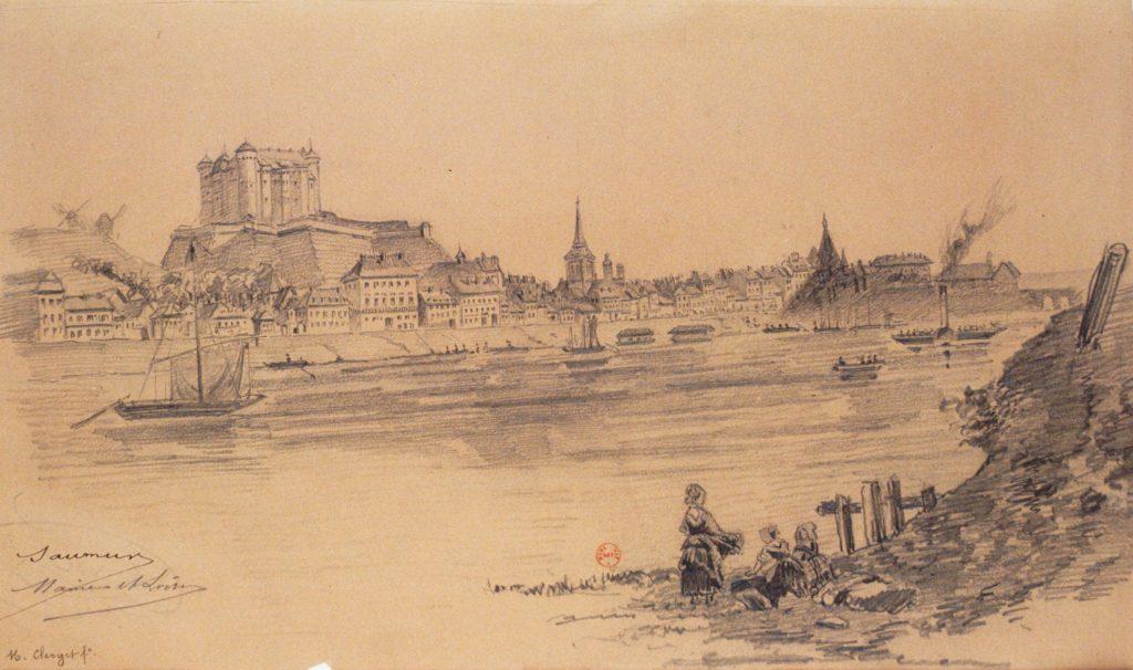 La navigation sur la Loire au pied du château de Saumur vers 1850.